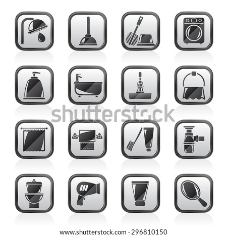 Bathroom and hygiene objects icons -vector icon set