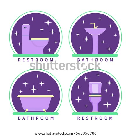 Bathroom Sign Vector Style bathroom restroom vector icons flat style stock vector 565358986