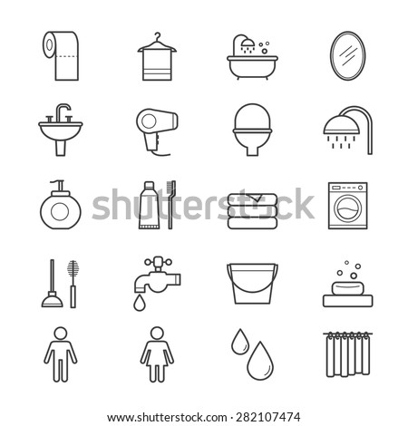 Bathroom and Toilet Icons Line - stock vector