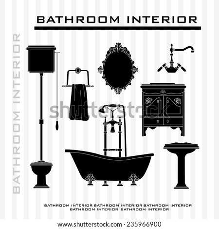 Bathroom and toilet interior icons set. Vintage Toilet Stock Images  Royalty Free Images   Vectors