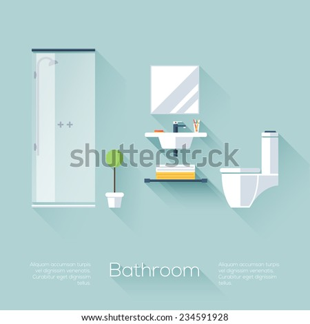 Bathroom cover with shower, sink and toilet. Flat style with long shadows. Modern trendy design. Vector illustration. - stock vector