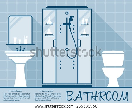 Bathroom design infographic template in flat style in shades of blue of a bathroom interior with toilet, shower and hand basin over editable text space - stock vector
