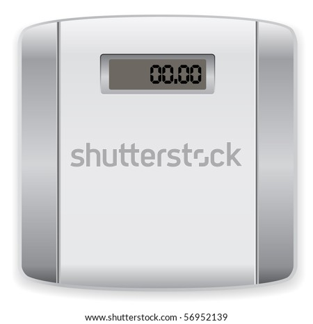 bathroom digital scale - stock vector