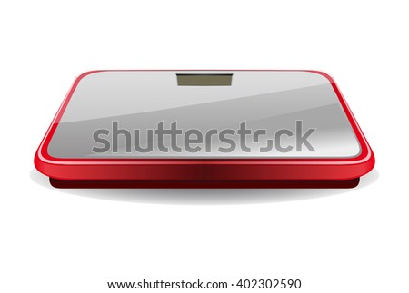 Bathroom digital scale. Vector illustration isolated on white background. - stock vector