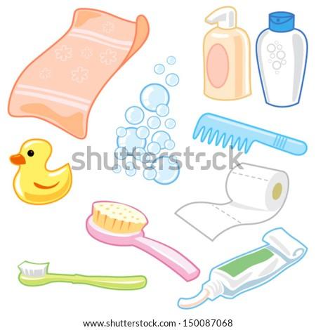 Bathroom Equipment icon set cartoon style with vector design - stock vector