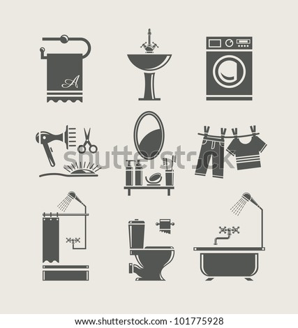 bathroom equipment set icon vector illustration - stock vector