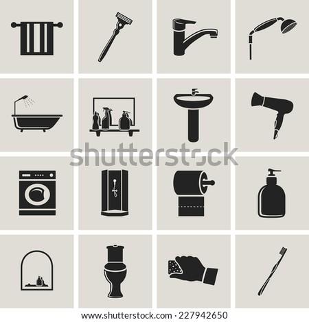 bathroom flat black icons set - stock vector