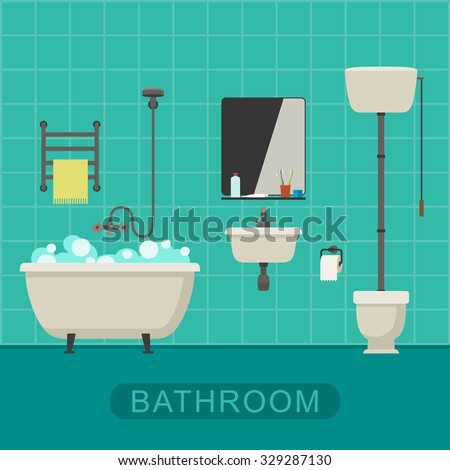 Bathroom flat illustration with toilet, sink and hygienic supplies. Vector banner of bathroom. - stock vector