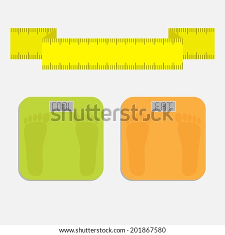 Bathroom floor electronic weight scale with word fat. Yellow measuring tape. Flat design style. Vector illustration. - stock vector
