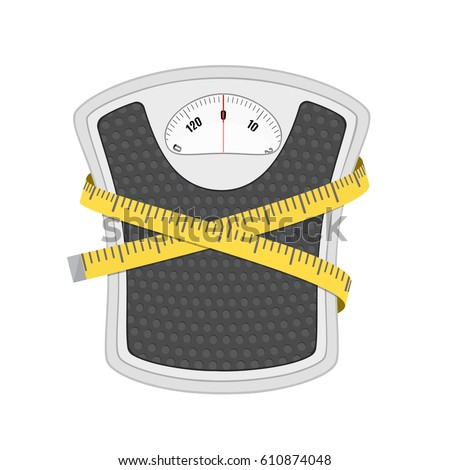 Bathroom Scale Measuring Tape Vector Stock Vector ...