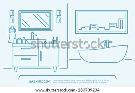 Bathroom furniture outline poster with luxury bath bowl and shelves vector illustration - stock vector