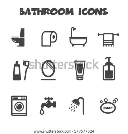 bathroom icons, mono vector symbols - stock vector