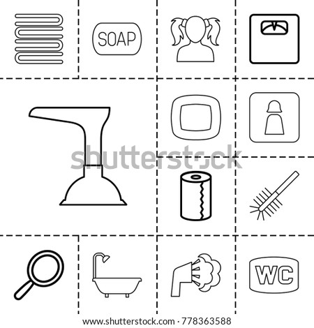 Bathroom icons. set of 13 editable outline bathroom icons such as mirror, paper towel, floor scales, man wc, towels, girl, soap, soap, plunger, shower, toilet brush