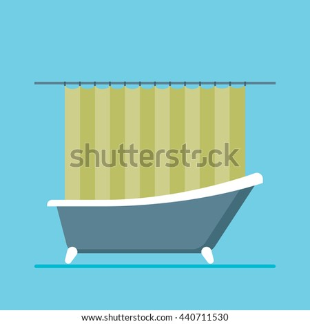 Bathroom in modern flat vector illustration isolated on blue background. - stock vector