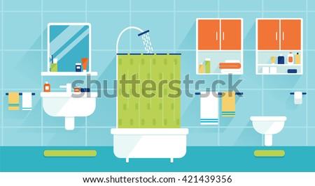 Bathroom Interior Design Set Of Element Furniture Slide Prepared For Vector Animation