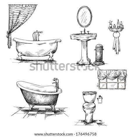 Bathroom Interior Elements Hand Drawn Bathtub Toilet Bowl Sink Vector