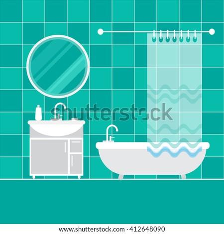 Bathroom interior. Furniture. Home Interior Objects - bath, mirror, wash basin. Modern trendy design. Vector illustration. - stock vector