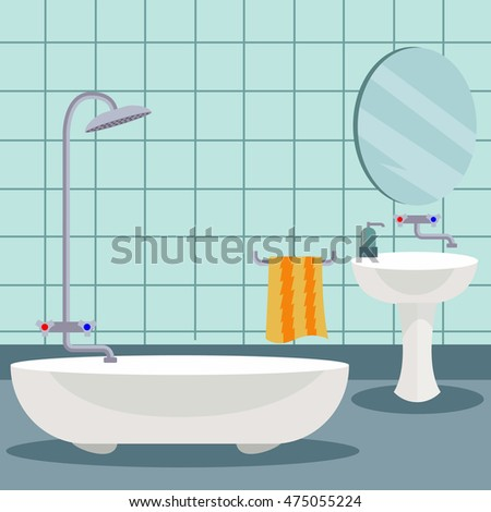 Bathroom interior in flat design style vector illustration