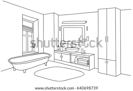Bathroom interior line sketch bath room stock vector for Bathroom design drawing