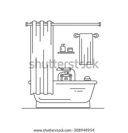 Bathroom interior outline design.  Vector illustration. - stock vector