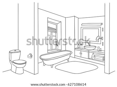 Hand Drawn Bathroom Stock Vector 479829970 Shutterstock