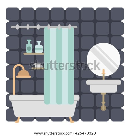 bathroom interior/vector