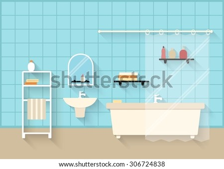 Bathroom interior with long shadows in flat design style. Vector illustration of bathroom with furniture - stock vector