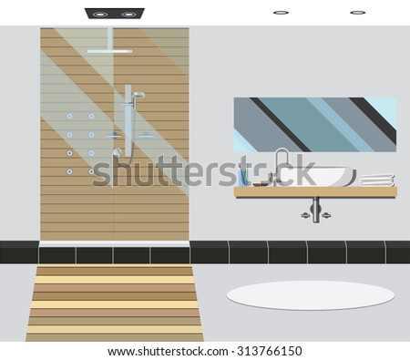 Bathroom interior with mirror and sink. Vector illustration