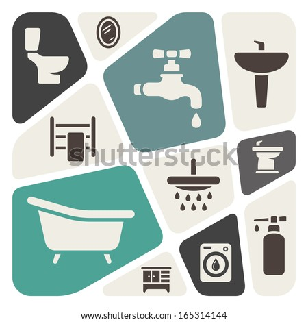 Bathroom items background - stock vector