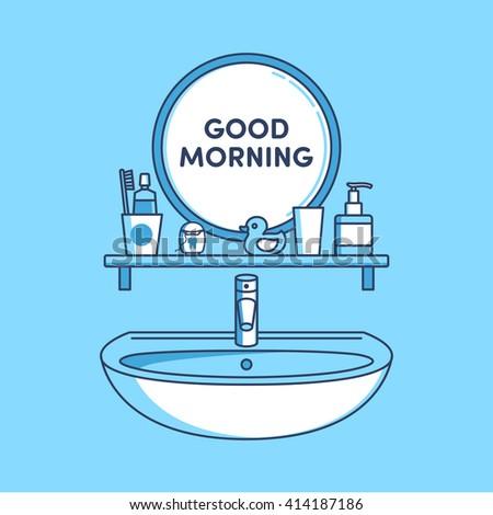 bathroom mirror sink toothpaste dental floss stock vector