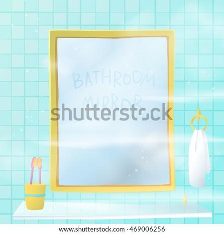 bathroom mirror vector illustration cartoon style stock vector