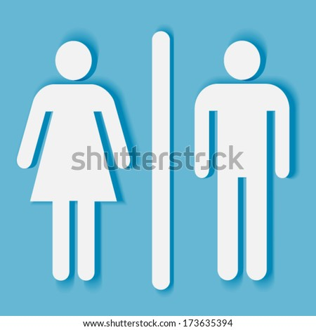 Bathroom or toilet sign and symbol: man and woman silhouette with shadow - stock vector