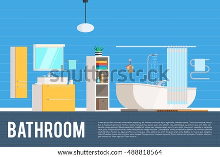 Bathroom room interior design. Furniture objects, elements and equipment. Vector concept Illustration trendy flat graphic design for web banner and printed materials