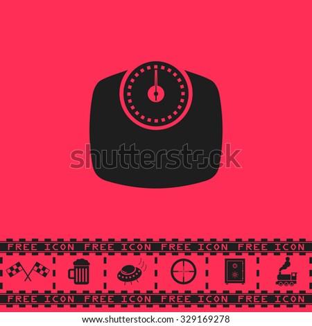 Bathroom scale. Black flat vector icon and bonus symbol - Racing flag, Beer mug, Ufo fly, Sniper sight, Safe, Train on pink background - stock vector