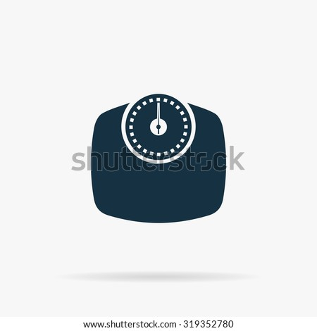 Bathroom scale. Flat vector web icon or sign on grey background with shadow. Collection modern trend concept design style illustration symbol - stock vector