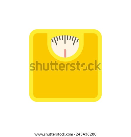 Bathroom scale, modern flat icon with long shadow - stock vector