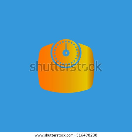 Bathroom scale. Orange vector icon isolated on blue background. Illustration trend symbol - stock vector