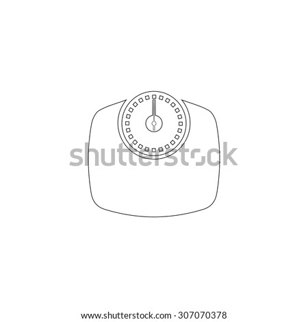 Bathroom scale. Outline black simple vector pictogram - stock vector
