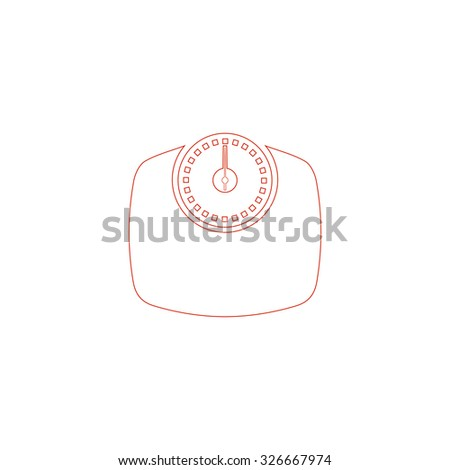 Bathroom scale. Red outline vector pictogram on white background. Flat simple icon - stock vector