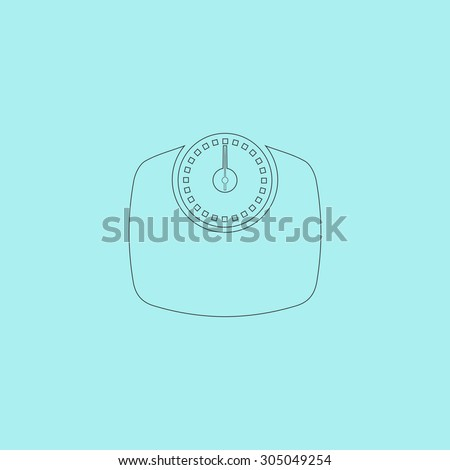 Bathroom scale. Simple outline flat vector icon isolated on blue background - stock vector