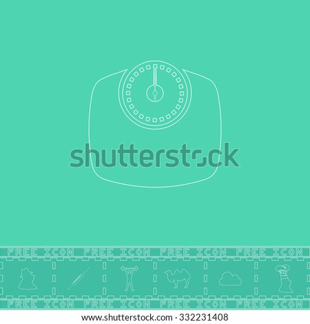 Bathroom scale. White outline flat symbol and bonus icon. Simple vector illustration pictogram on green background - stock vector