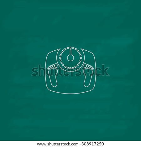 Bathroom scale with footprints. Outline vector icon. Imitation draw with white chalk on green chalkboard. Flat Pictogram and School board background. Illustration symbol - stock vector