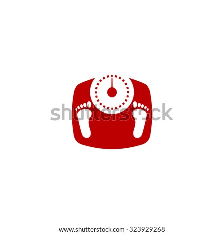 Bathroom scale with footprints. Red flat icon. Vector illustration symbol - stock vector