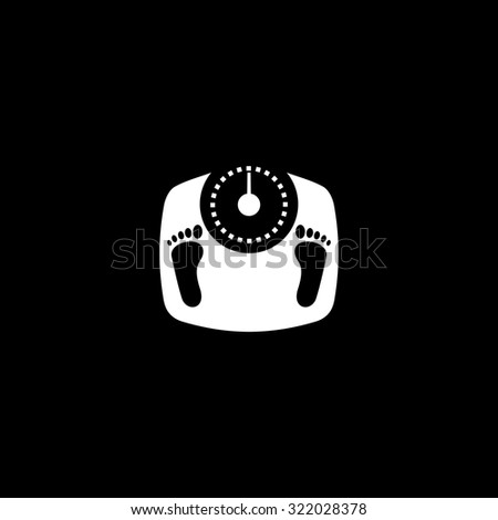 Bathroom scale with footprints. Simple flat icon. Black and white. Vector illustration - stock vector