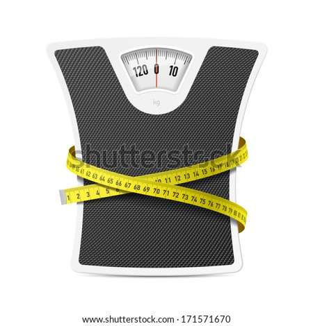 Bathroom scale with measuring tape. Vector. - stock vector