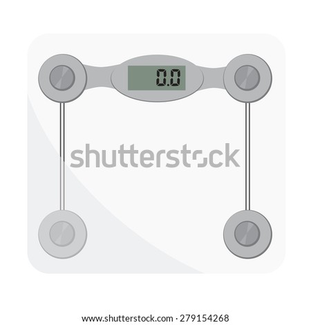 Bathroom scales. Bathroom digital scale vector isolated. Weight loss, glass scales, floor scale - stock vector