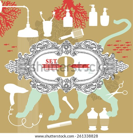 Bathroom set for design. Collection of hand - drawn nursery related objects on background. - stock vector