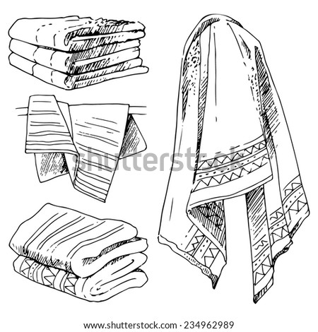 Bathroom Set Towels Vector Illustration In Sketch Style