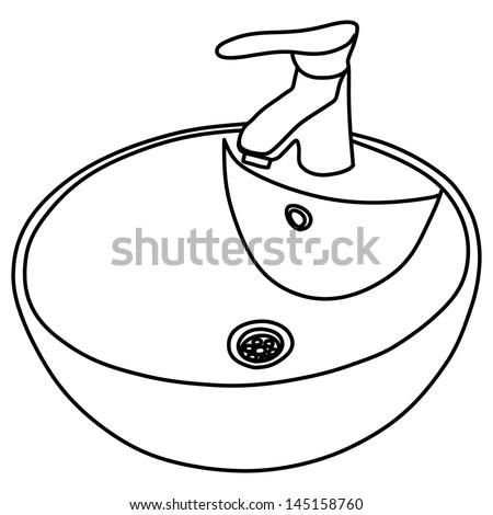 Bathroom Sink Illustration Stock Vector 145158760