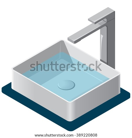 Bathroom sink. Isometric basin with tap and water. Kitchen interior info graphic element on white. Illustration household article. Pictogram domestic cleaner set. Flatten isolated master vector. - stock vector